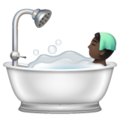 Person Taking Bath: Dark Skin Tone on WhatsApp 2.19.352