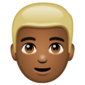 Man: Medium-Dark Skin Tone, Blond Hair on WhatsApp 2.19.352