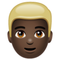 Man: Dark Skin Tone, Blond Hair on WhatsApp 2.19.352