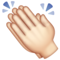 Clapping Hands: Light Skin Tone on WhatsApp 2.19.352