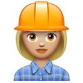 Woman Construction Worker: Medium-Light Skin Tone on WhatsApp 2.19.352