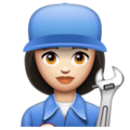 Woman Mechanic: Light Skin Tone on WhatsApp 2.19.352