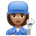 Woman Mechanic: Medium Skin Tone on WhatsApp 2.19.352