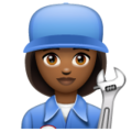 Woman Mechanic: Medium-Dark Skin Tone on WhatsApp 2.19.352