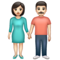 Woman and Man Holding Hands: Light Skin Tone on WhatsApp 2.19.352