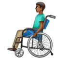 Man in Manual Wheelchair: Medium-Dark Skin Tone on WhatsApp 2.19.352