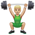 Man Lifting Weights: Medium-Light Skin Tone on WhatsApp 2.19.352