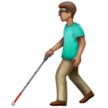 Man with White Cane: Medium Skin Tone on WhatsApp 2.19.352