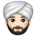 Person Wearing Turban: Light Skin Tone on WhatsApp 2.19.352