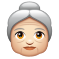 Old Woman: Light Skin Tone on WhatsApp 2.19.352