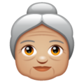 Old Woman: Medium-Light Skin Tone on WhatsApp 2.19.352