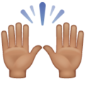 Raising Hands: Medium Skin Tone on WhatsApp 2.19.352