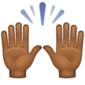 Raising Hands: Medium-Dark Skin Tone on WhatsApp 2.19.352