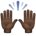 Raising Hands: Dark Skin Tone on WhatsApp 2.19.352