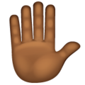 Raised Hand: Medium-Dark Skin Tone on WhatsApp 2.19.352