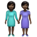 Women Holding Hands: Dark Skin Tone on WhatsApp 2.19.352