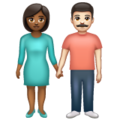 Woman and Man Holding Hands: Medium-Dark Skin Tone, Light Skin Tone on WhatsApp 2.19.352