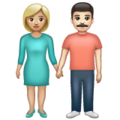 Woman and Man Holding Hands: Medium-Light Skin Tone, Light Skin Tone on WhatsApp 2.19.352