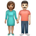 Woman and Man Holding Hands: Medium Skin Tone, Light Skin Tone on WhatsApp 2.19.352