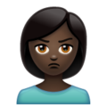 Woman Pouting: Dark Skin Tone on WhatsApp 2.19.352