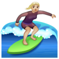 Woman Surfing: Medium-Light Skin Tone on WhatsApp 2.19.352