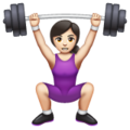 Woman Lifting Weights: Light Skin Tone on WhatsApp 2.19.352