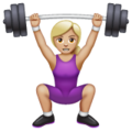 Woman Lifting Weights: Medium-Light Skin Tone on WhatsApp 2.19.352