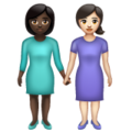 Women Holding Hands: Dark Skin Tone, Light Skin Tone on WhatsApp 2.19.352