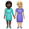 Women Holding Hands: Dark Skin Tone, Medium-Light Skin Tone on WhatsApp 2.19.352