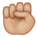 Raised Fist: Medium-Light Skin Tone on WhatsApp 2.20.206.24