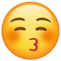 Kissing Face with Closed Eyes on WhatsApp 2.21.16.20