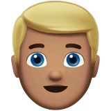 Man: Medium Skin Tone, Blond Hair on Apple iOS 11.1