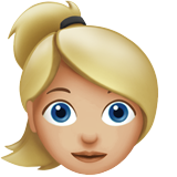 Woman: Medium-Light Skin Tone, Blond Hair on Apple iOS 11.1