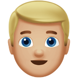 Man: Medium-Light Skin Tone, Blond Hair on Apple iOS 11.2