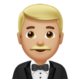 Man in Tuxedo: Medium-Light Skin Tone on Apple iOS 11.2