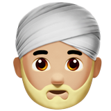 Man Wearing Turban: Medium-Light Skin Tone on Apple iOS 11.2