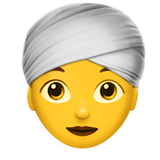 Woman Wearing Turban on Apple iOS 11.2