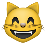 Grinning Cat with Smiling Eyes on Apple iOS 5.1