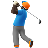Man Golfing: Dark Skin Tone on Apple iOS 11.3