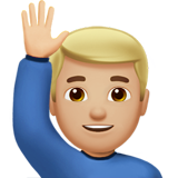 Man Raising Hand: Medium-Light Skin Tone on Apple iOS 11.3