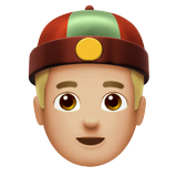 Man With Chinese Cap: Medium-Light Skin Tone on Apple iOS 11.3