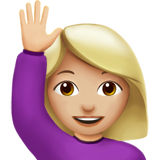 Woman Raising Hand: Medium-Light Skin Tone on Apple iOS 11.3