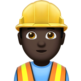 Construction Worker: Dark Skin Tone on Apple iOS 12.1