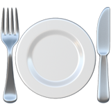 Fork and Knife with Plate on Apple iOS 12.1