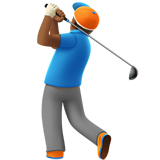 Man Golfing: Medium-Dark Skin Tone on Apple iOS 12.1