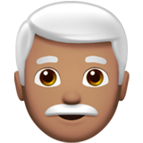 Man: Medium Skin Tone, White Hair on Apple iOS 12.1