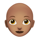 Woman: Medium Skin Tone, Bald on Apple iOS 12.1