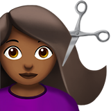 Woman Getting Haircut: Medium-Dark Skin Tone on Apple iOS 12.1