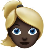 Woman: Dark Skin Tone, Blond Hair on Apple iOS 12.2
