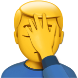 Person Facepalming on Apple iOS 12.2
